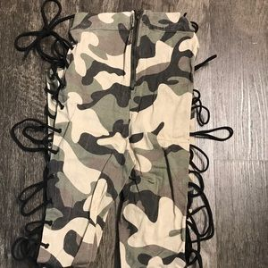 Camo Camouflage Lace Up Pants